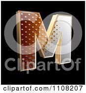 3d Halftone Capital Letter M On Black