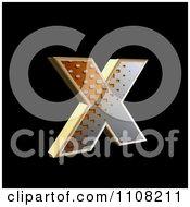3d Halftone Lowercase Letter X On Black