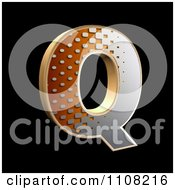 3d Halftone Capital Letter Q On Black