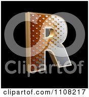 3d Halftone Capital Letter R On Black