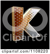 3d Halftone Capital Letter K On Black
