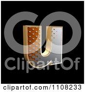 3d Halftone Lowercase Letter U On Black