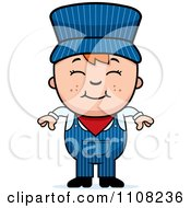 Clipart Happy Red Haired Train Engineer Boy Royalty Free Vector Illustration
