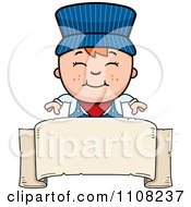 Clipart Happy Red Haired Train Engineer Boy Over A Blank Banner Royalty Free Vector Illustration by Cory Thoman