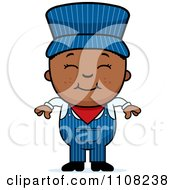 Clipart Happy Black Train Engineer Boy Royalty Free Vector Illustration by Cory Thoman