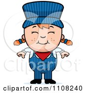 Clipart Happy Red Haired Train Engineer Girl Royalty Free Vector Illustration by Cory Thoman