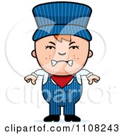 Clipart Angry Red Haired Train Engineer Boy Royalty Free Vector Illustration by Cory Thoman