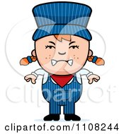 Clipart Angry Red Haired Train Engineer Girl Royalty Free Vector Illustration by Cory Thoman