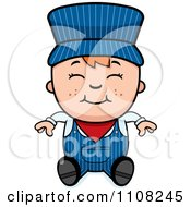 Clipart Happy Red Haired Train Engineer Boy Sitting Royalty Free Vector Illustration by Cory Thoman