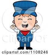 Clipart Happy Red Haired Train Engineer Boy Cheering Royalty Free Vector Illustration by Cory Thoman