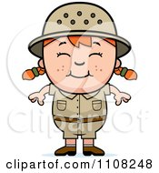 Clipart Happy Red Haired Safari Girl Royalty Free Vector Illustration