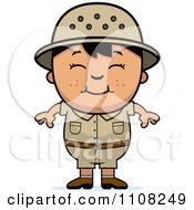 Clipart Happy Asian Safari Boy Royalty Free Vector Illustration