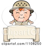 Clipart Happy Red Haired Safari Boy Over A Blank Banner Royalty Free Vector Illustration