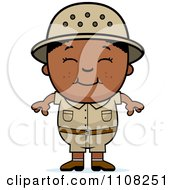 Clipart Happy Black Safari Boy Royalty Free Vector Illustration by Cory Thoman
