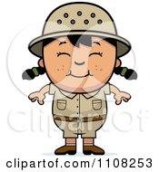 Clipart Happy Asian Safari Girl Royalty Free Vector Illustration