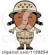 Clipart Happy Black Safari Girl Royalty Free Vector Illustration
