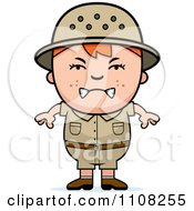 Clipart Angry Red Haired Safari Boy Royalty Free Vector Illustration