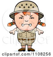 Clipart Angry Red Haired Safari Girl Royalty Free Vector Illustration
