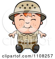Clipart Happy Red Haired Safari Boy Sitting Royalty Free Vector Illustration