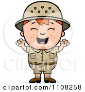 Clipart Happy Red Haired Safari Boy Cheering Royalty Free Vector Illustration
