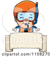 Clipart Happy Red Haired Scuba Boy Over A Blank Banner Royalty Free Vector Illustration by Cory Thoman