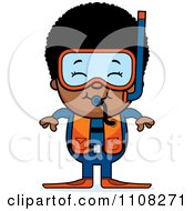Clipart Happy Black Scuba Boy Royalty Free Vector Illustration by Cory Thoman