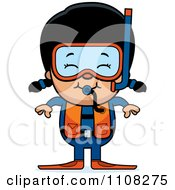 Clipart Happy Asian Scuba Girl Royalty Free Vector Illustration by Cory Thoman