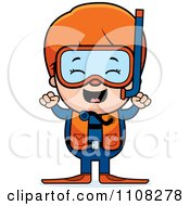 Clipart Happy Red Haired Scuba Boy Cheering Royalty Free Vector Illustration by Cory Thoman