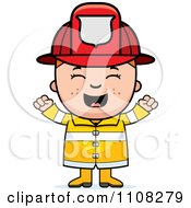 Clipart Happy Fire Fighter Boy Cheering Royalty Free Vector Illustration