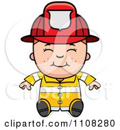 Clipart Happy Fire Fighter Boy Sitting Royalty Free Vector Illustration