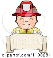 Clipart Happy Fire Fighter Boy Over A Blank Banner Royalty Free Vector Illustration