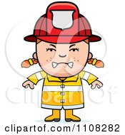 Clipart Angry Red Haired Fire Fighter Girl Royalty Free Vector Illustration