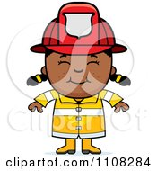 Clipart Happy Black Fire Fighter Girl Royalty Free Vector Illustration