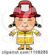 Clipart Happy Asian Fire Fighter Girl Royalty Free Vector Illustration