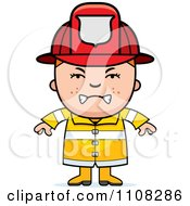 Clipart Angry Fire Fighter Boy Royalty Free Vector Illustration