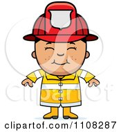 Clipart Happy Asian Fire Fighter Boy Royalty Free Vector Illustration