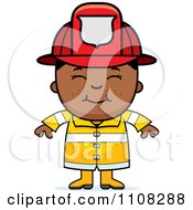 Clipart Happy Black Fire Fighter Boy Royalty Free Vector Illustration