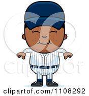 Clipart Happy Black Baseball Boy Royalty Free Vector Illustration by Cory Thoman