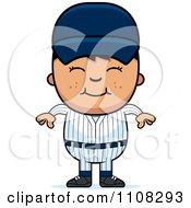 Clipart Happy Asian Baseball Boy Royalty Free Vector Illustration