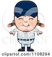 Clipart Happy Baseball Girl Royalty Free Vector Illustration