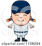 Clipart Happy Baseball Girl Royalty Free Vector Illustration