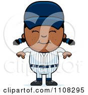Clipart Happy Black Baseball Girl Royalty Free Vector Illustration by Cory Thoman