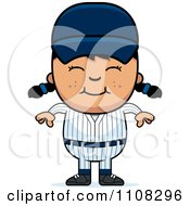 Clipart Happy Asian Baseball Girl Royalty Free Vector Illustration