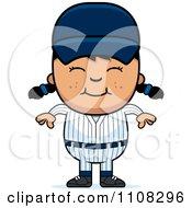 Clipart Happy Asian Baseball Girl Royalty Free Vector Illustration