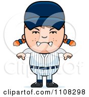 Clipart Angry Baseball Girl Royalty Free Vector Illustration
