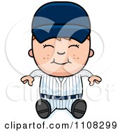 Clipart Happy Baseball Boy Sitting Royalty Free Vector Illustration
