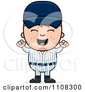 Clipart Happy Baseball Boy Cheering Royalty Free Vector Illustration by Cory Thoman