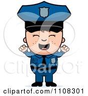 Clipart Happy Police Boy Cheering Royalty Free Vector Illustration
