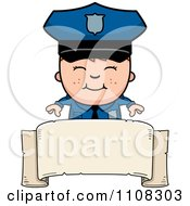 Clipart Happy Police Boy Over A Banner Royalty Free Vector Illustration