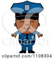 Clipart Happy Black Police Boy Royalty Free Vector Illustration